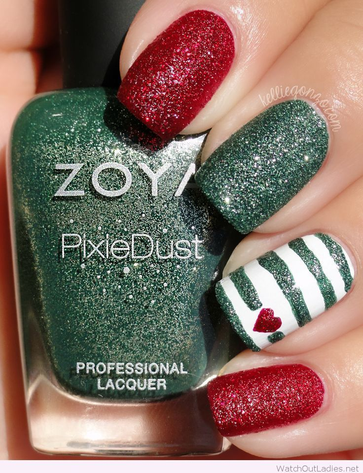 Red, white and green Christmas nails