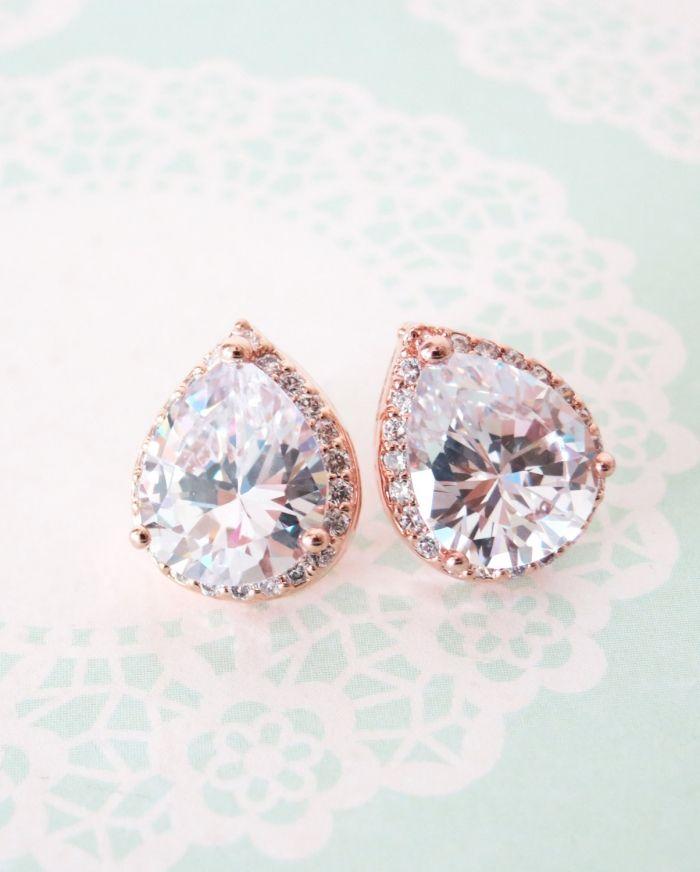 Bridesmaid earrings Gift Wedding Big Teardrop Bridesmaid CZ Earrings Rose Gold