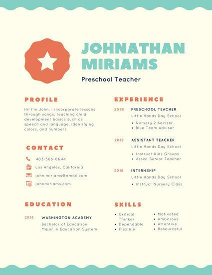 Colorful Illustrated Badge Creative Preschool Teacher Resume