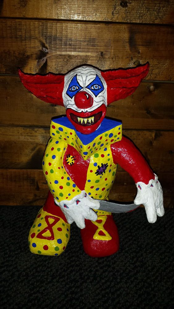 Ooak Demonic Evil Clown Gothic Horror Original Paper Mache Clay Art Sculpture