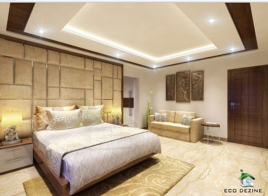 Bed Room Interior View A Wooden Bed Placed With Classy Touch Side Units Having Drawers An Bedroom False Ceiling Design Ceiling Design Bedroom Bedroom Design
