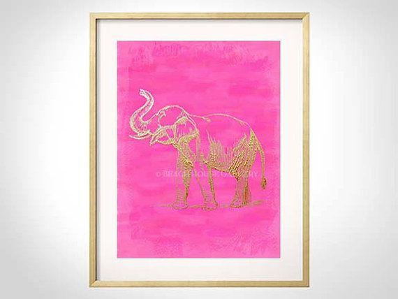 Pink Elephant Art Elephant Print Elephant Art Pink Wall Art Elephant Wall Art Chinoiserie Elephant Art Hot Pink Elephant Elephant Wall Art Pink Wall Art Elephant Art