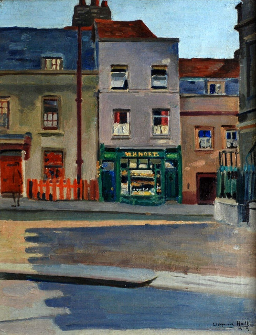'The Square, Isleworth' 1929, by Clifford Hall. Oil on canvas painting, 17 x 13½ inches.