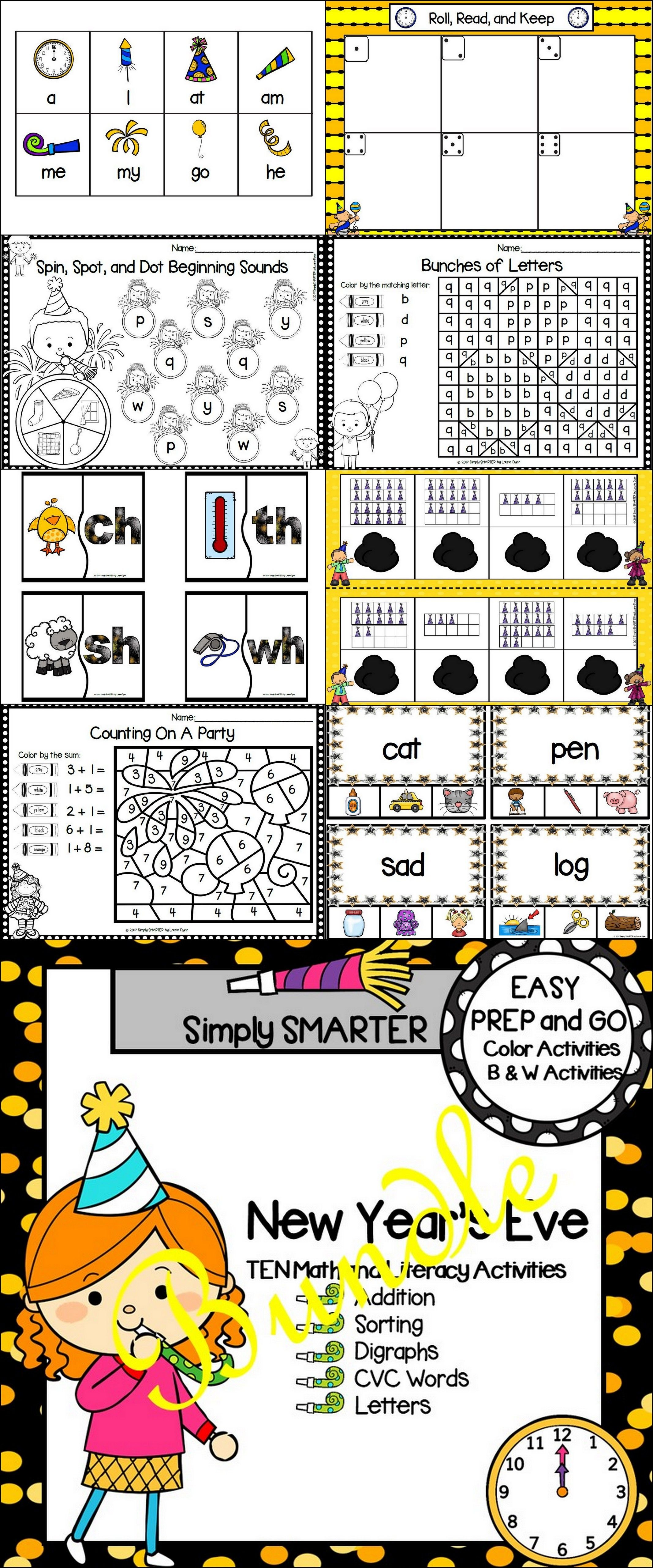 Easy Prep New Year S Eve Math And Literacy Center