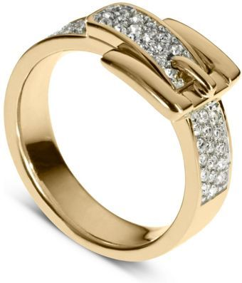 Mickael Kors - Gold Tone Pave Crystal Buckle Ring