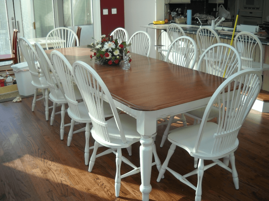 How To Refinish A Dining Room Table With White Chunky Tapered Leg Rectangular And Brown Wooden Staining Wood Countertop Accent