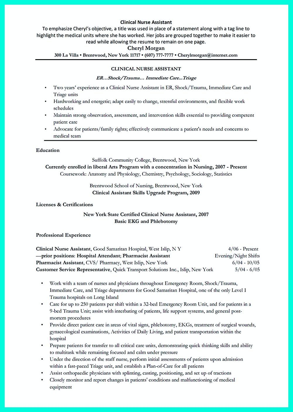 writing certified nursing assistant resume is simple if you follow