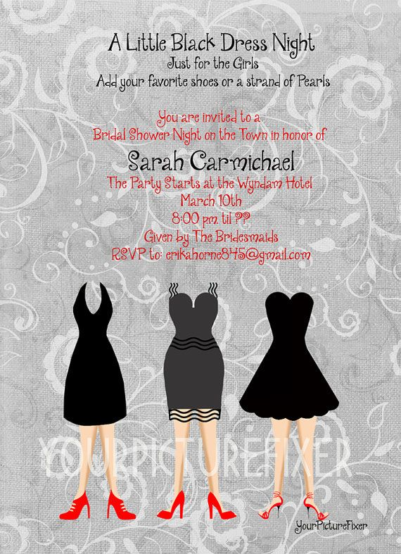 Little Black Dress Bridal Shower Invitation When My Friends Get