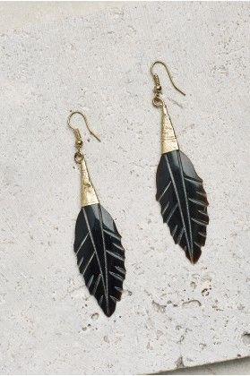 Brass Horn Feather Earrings - Earthbound Trading Co.