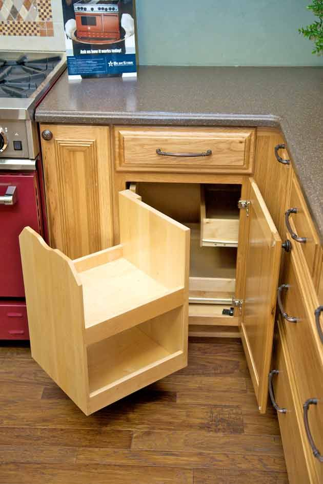"the ""blind corner"" cabinet above makes better use of corner space"