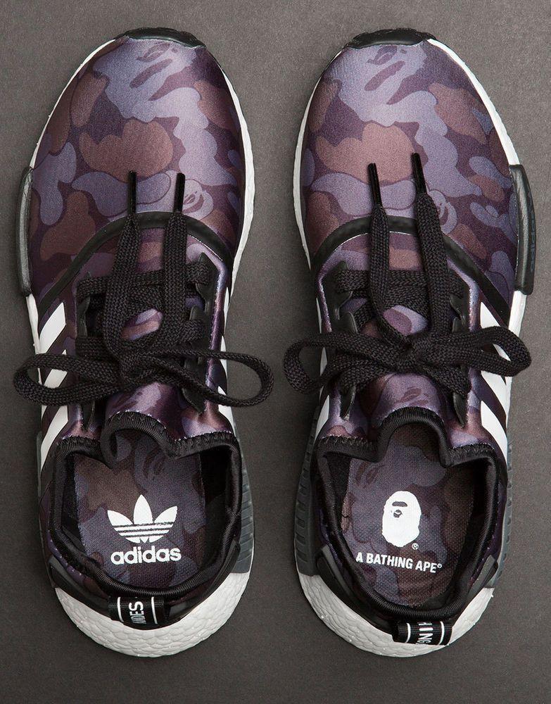 7de315062 Adidas x Bape NMD R1 Black Camo BA7325 Size 5 US