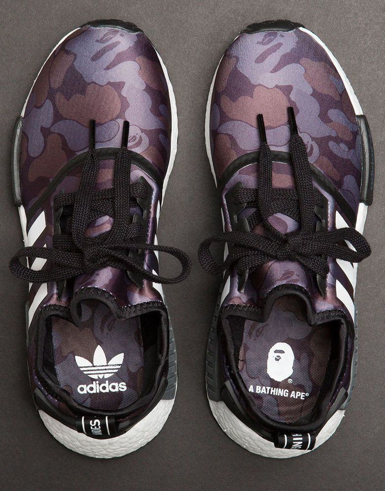 eed5565b2 Adidas x Bape NMD R1 Black Camo BA7325 Size 5 US