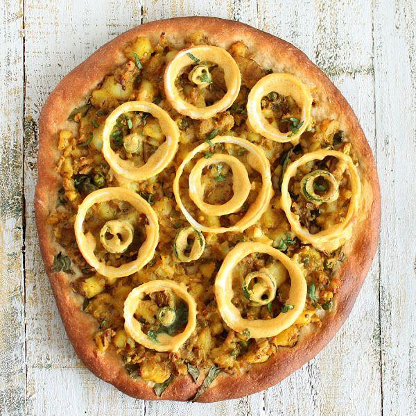 Samosa and Onion Bhajji/Pakora Pizza with Wheat Chickpea Semolina Crust. vegan recipe | Vegan Richa