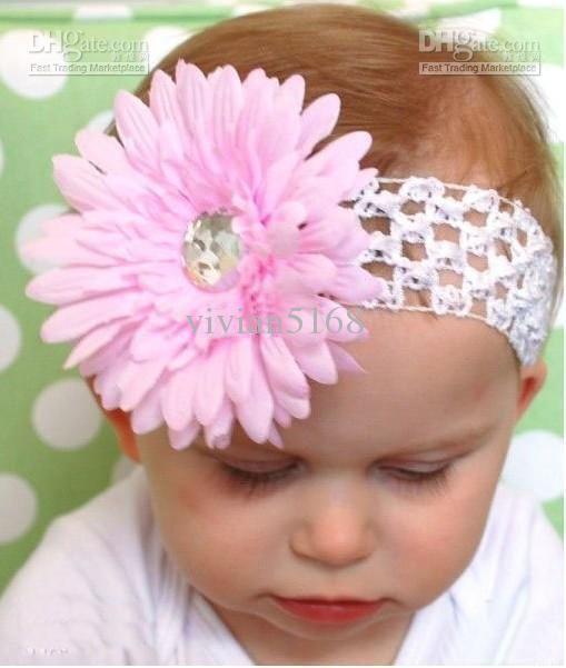Crochet Head Band Girls Hair Bands Hairpin Baby Hair Bow Clips Daisy