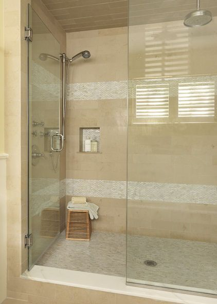 Accent Tile Stands Out In The Shower Modern Bathroom Design Bathroom Design Modern Bathroom
