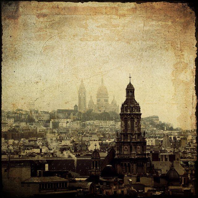 Paris skyline in vintage styling. | Vintage Paris | Pinterest ...
