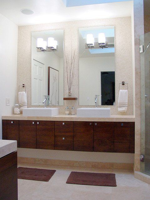 Long Narrow Modern Bathroom With Double Sink Mirror Design