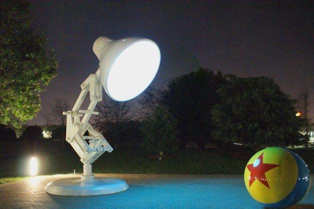 Giant Luxo lamp inside Pixar Studios that lights up at night