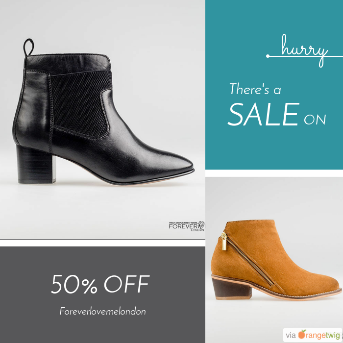 We are happy to announce 50.00% OFF on our Fabulous Collection of Ankle Boots and Shoes. Coupon Code: discount50.    Expiry: 8-May-2017.  Click here to avail coupon: https://small.bz/AAZBirK #musthave #loveit #instacool #shop #shopping #onlineshopping #instashop #instagood #instafollow #photooftheday #picoftheday #love #OTstores #smallbiz #sale #coupon                        Follow us on https://www.facebook.com/Forever-Love-Me-London