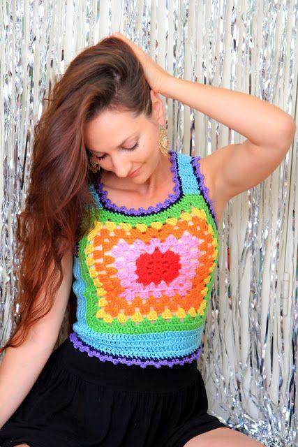 Granny Motif Vest Crochet Pattern From Red Heart Yarn Free Crochet