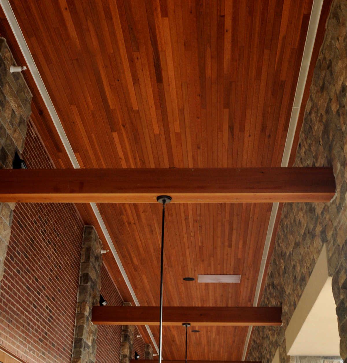 1x4 Tu0026G Cedar Ceiling Soffit With Large Cedar Beam Accents