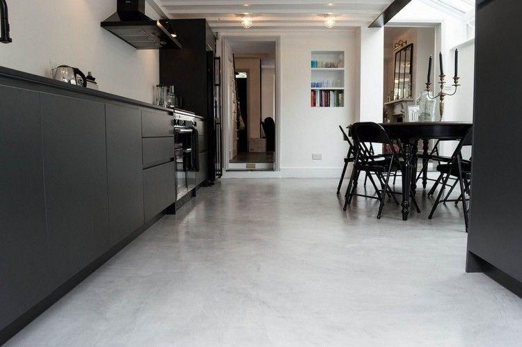 Bodenbelag Küche Estrich Epoxidharz Beschichtung Kontrast Schwarze
