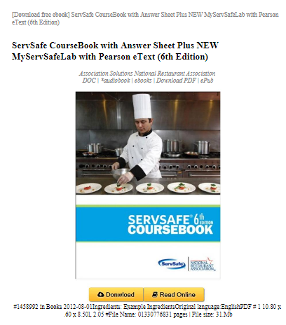 Servsafe Coursebook With Answer Sheet Plus New Myservsafelab With Pearson Etext 6th Edition Exam Answer Answers Audio Books