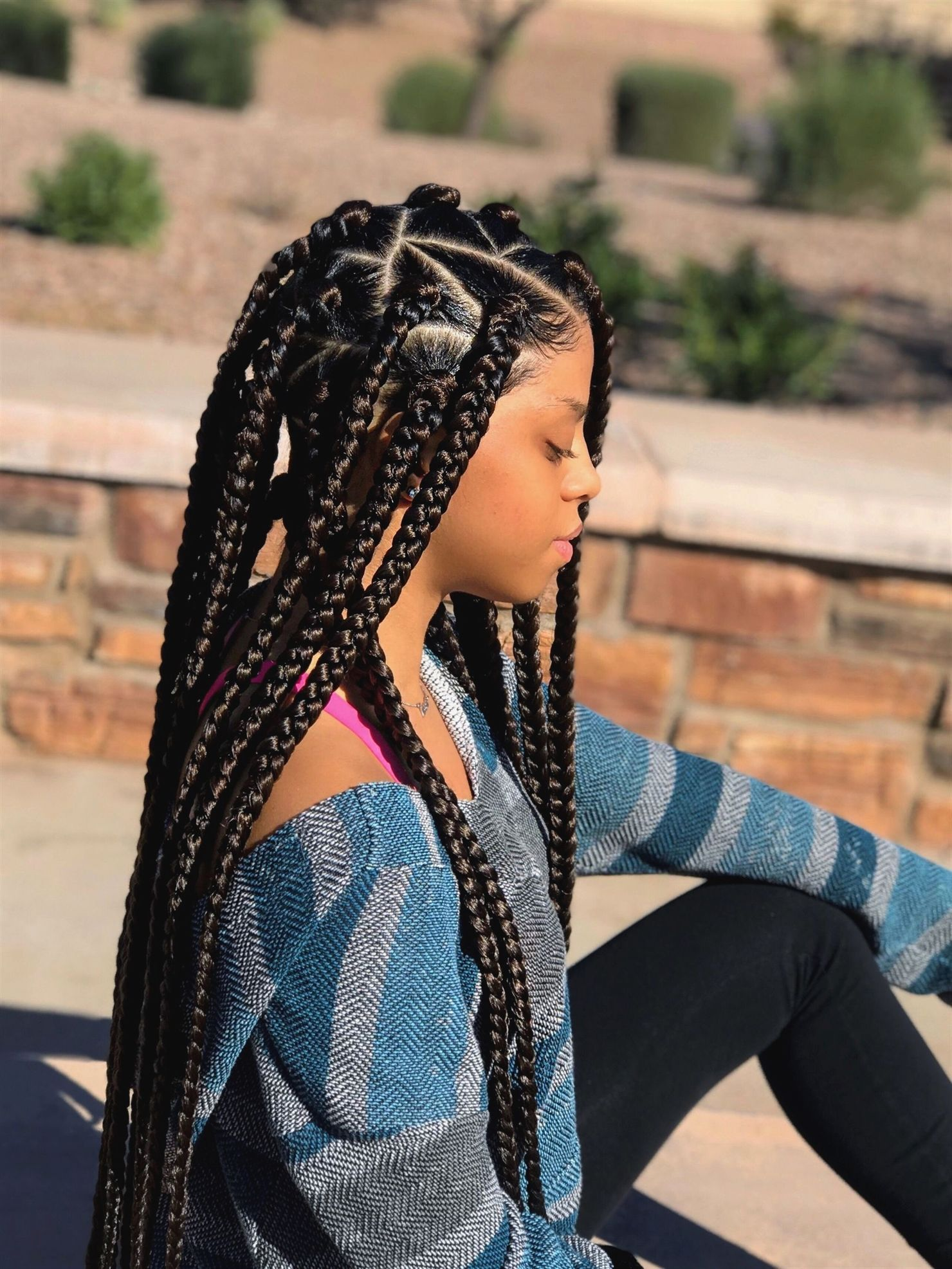 Jumbo sized Box Braids , Brown Box Braids , Protective Style