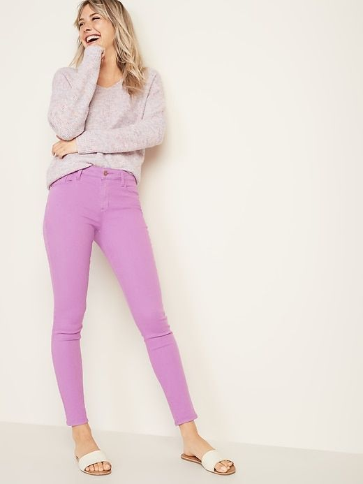 97ca0e46d3 Old Navy Women's Mid-Rise Rockstar Super Skinny Jeans Berry Pretty Big And  Tall Size