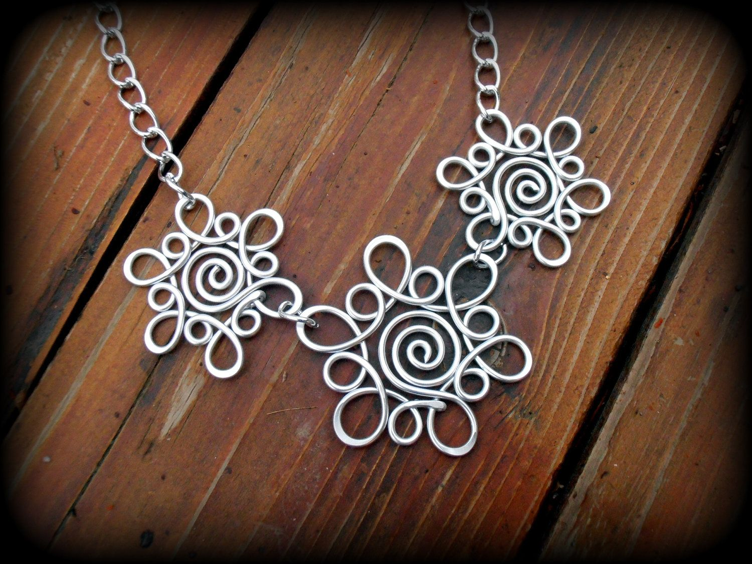 Triple Snowflake Sunburst Necklace Hand Wire Wrapped