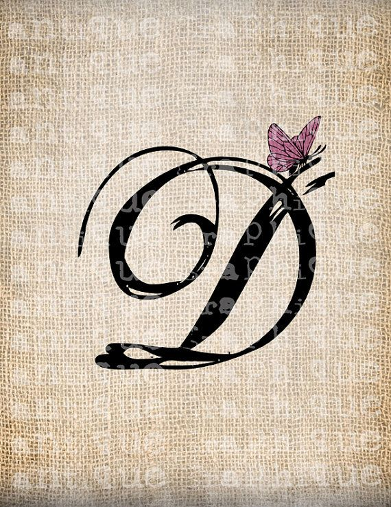 Antique Letter D Script Monogram With Butterfly Digital Download For Dictionary Pages Papercrafts Tr Letter D Tattoo Tattoo Lettering Tattoo Lettering Design
