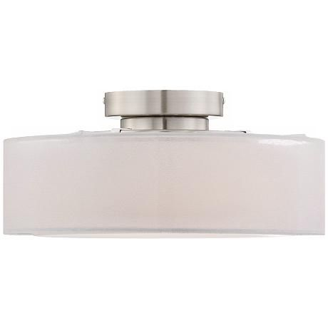 """Opal White Dual Shade 12 1/2"""" Wide Ceiling Light"""
