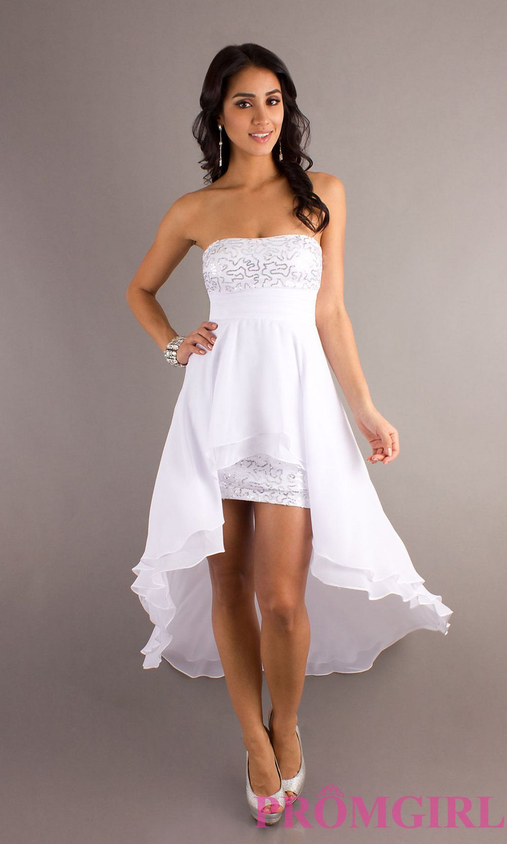 Shop For Strapless Sequined High Low Dress At PromGirl Junior Prom Dresses With Hemlines And Party
