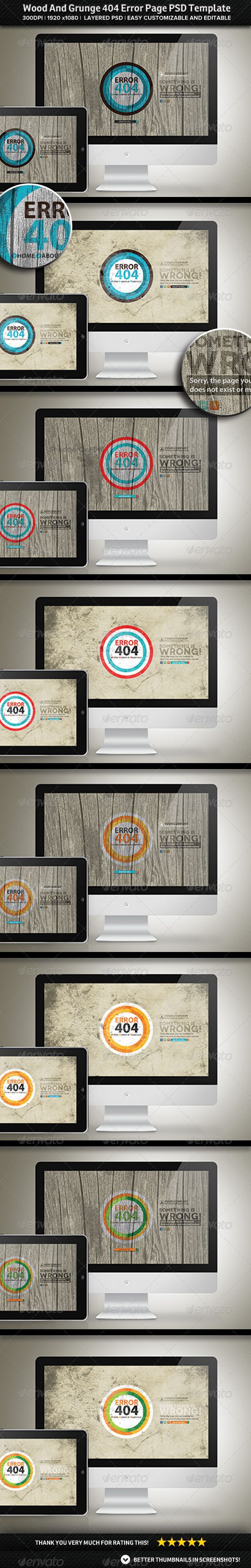 Wood And Grunge 404 Error Page PSD Template | Psd templates ...