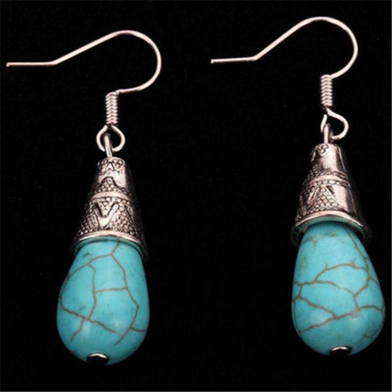 Yazilind Jewelry Amazing Tibetan Silver Green Waterdrop Rimous Turquoise Dangle Earrings for Women ZCJVSzoD