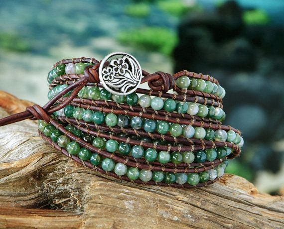 Leather Wrap Bracelet Chan Luu Style Moss by GalesJustBeadItShop, $75.00