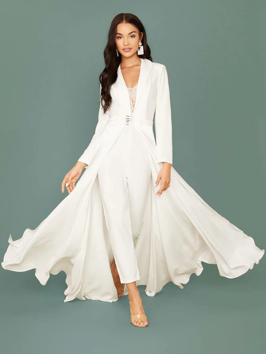 Shawl Collar Lace Insert Belted Cape Jumpsuit   SHEIN USA ...