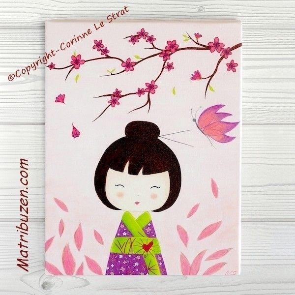 Tableau pour chambre d 39 enfant et b b petite kokeshi aiko et son papillon belle toile canvas - Toile pour chambre bebe ...