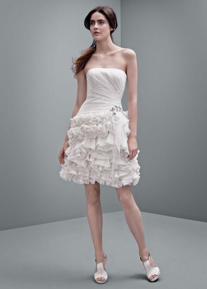 White By Vera Short Chiffon Wedding Dress Blush Pink 2