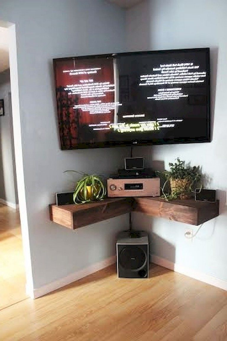 70 Smart Diy Corner Shelves Ideas To Decorating Your Awkward Corner Living Room Corner Corner Tv Shelves Corner Tv Wall Mount