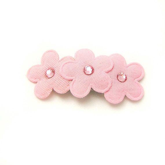 pink barrettes | Pink Flower Barrette, Apple Blossom Barrette, Flower Hair Clip, Pink ...