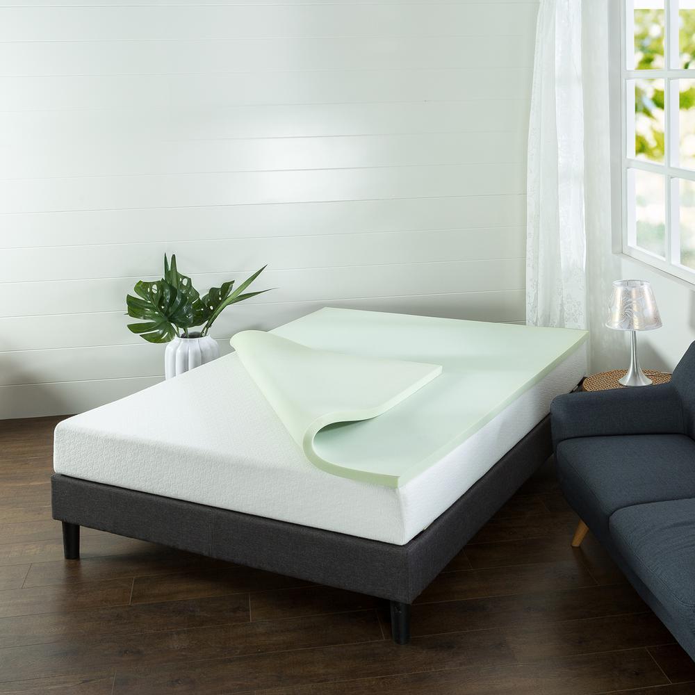 1 5 in green tea square queen short memory foam mattress topper