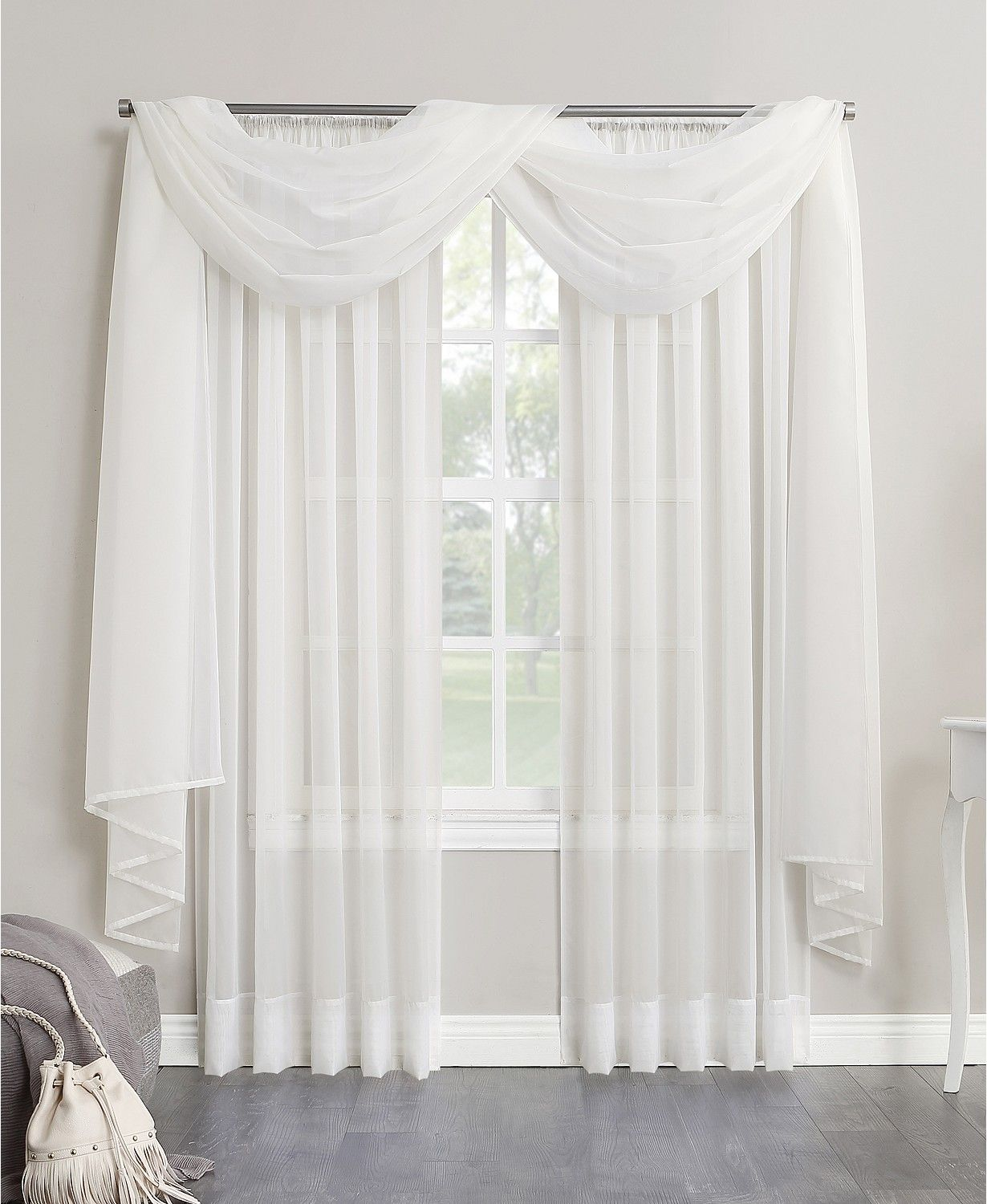 Sheer Voile 59 X 216 Scarf Valance In 2020 Scarf Curtains Rod
