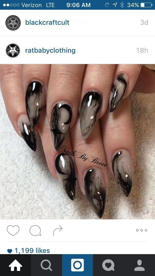 Witchy Nails Acrylic Nail Designs In 2019 3d Art Halloween Witch Witchy Nails Goth Nails Halloween Nails