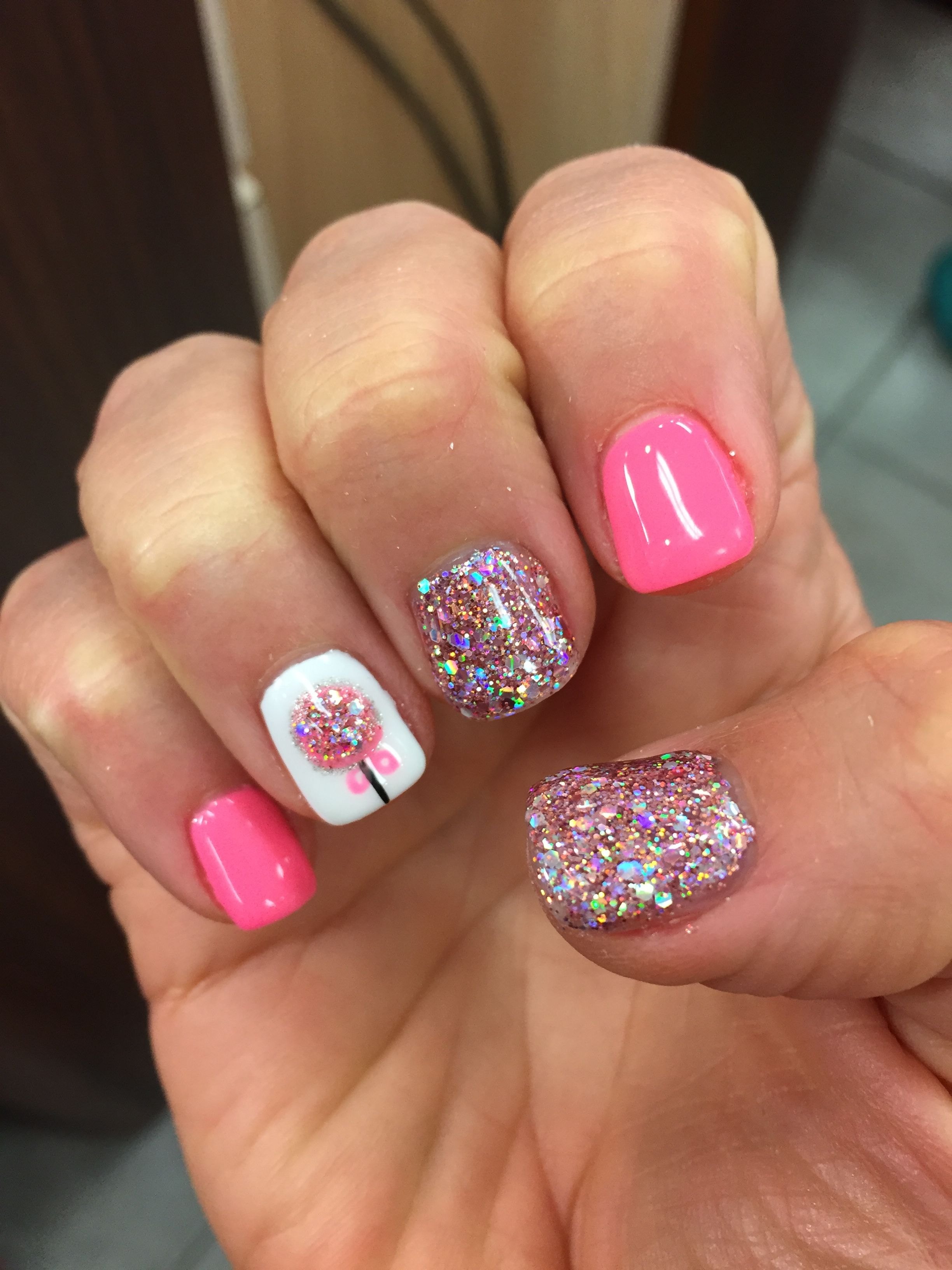 Christmas nail design. Ornament pink glitter gel shellac ...