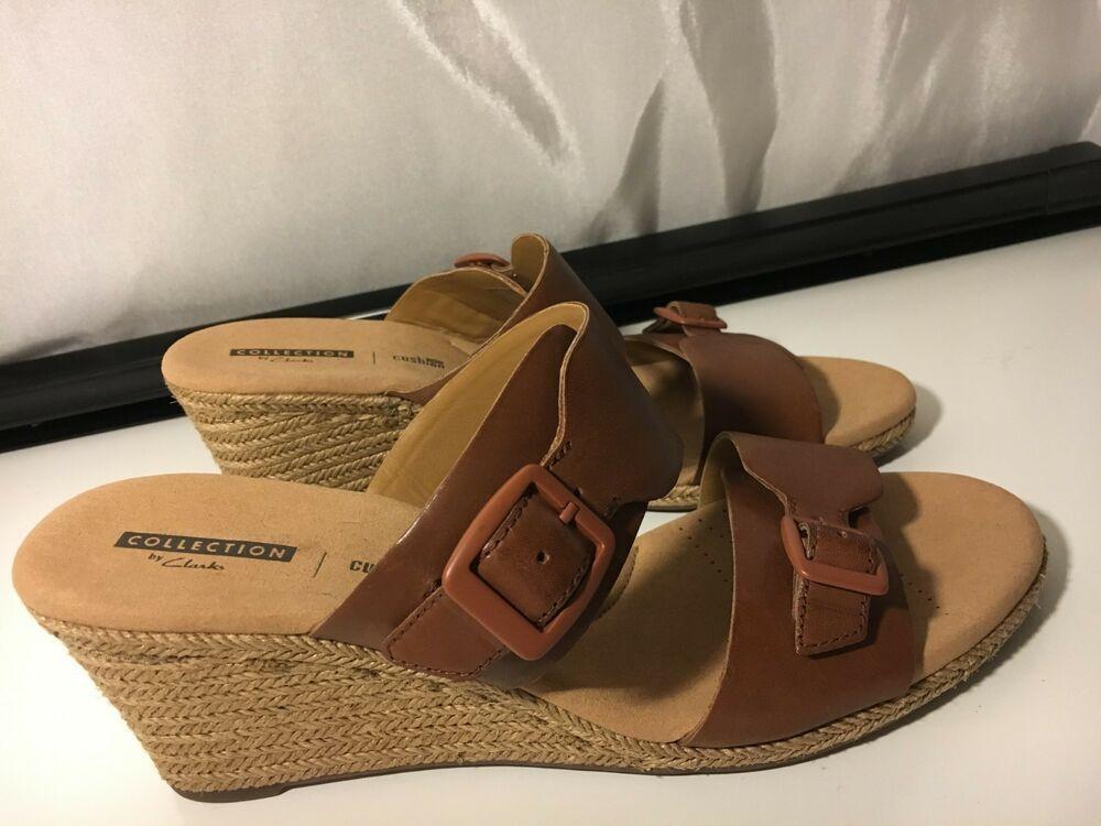 3b8577d530a5 CLARKS Size 10 Lafley Devin Slip-on Espadrilles Wedge Dark Tan Leather  Sandals  Clarks  Slides