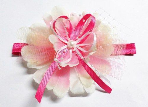 Pink & Yellow Pearl Flower Hair Bow Headband | gingasgalleria - Children's on ArtFire