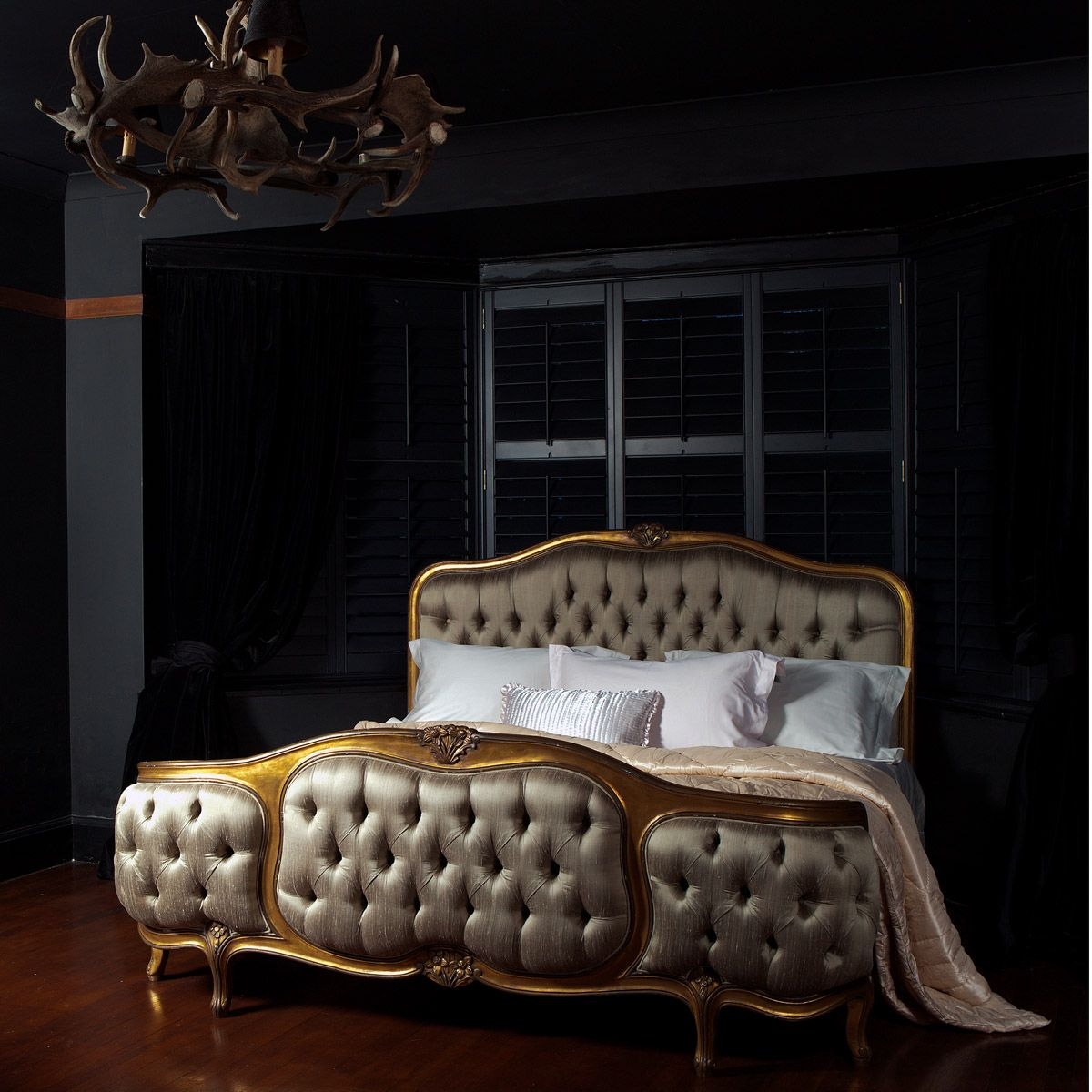 Black Black And More Black With A Touch Of Luxurious Gold Http Www Frenchbedroomcompany Co Uk Store Bed Upholstered Beds French Style Bed Luxury Bedding