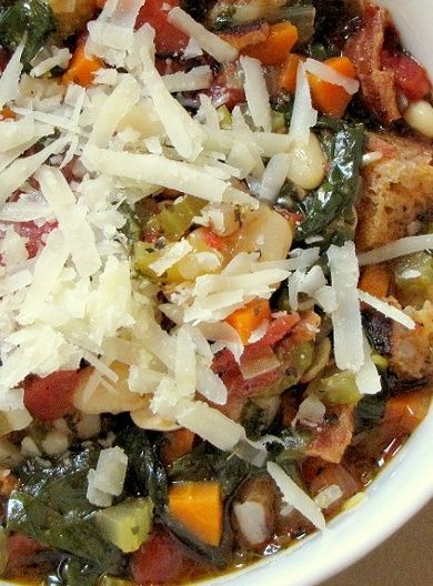 Ribollita is a famous Tuscan soup, a hearty potage made with bread and vegetables