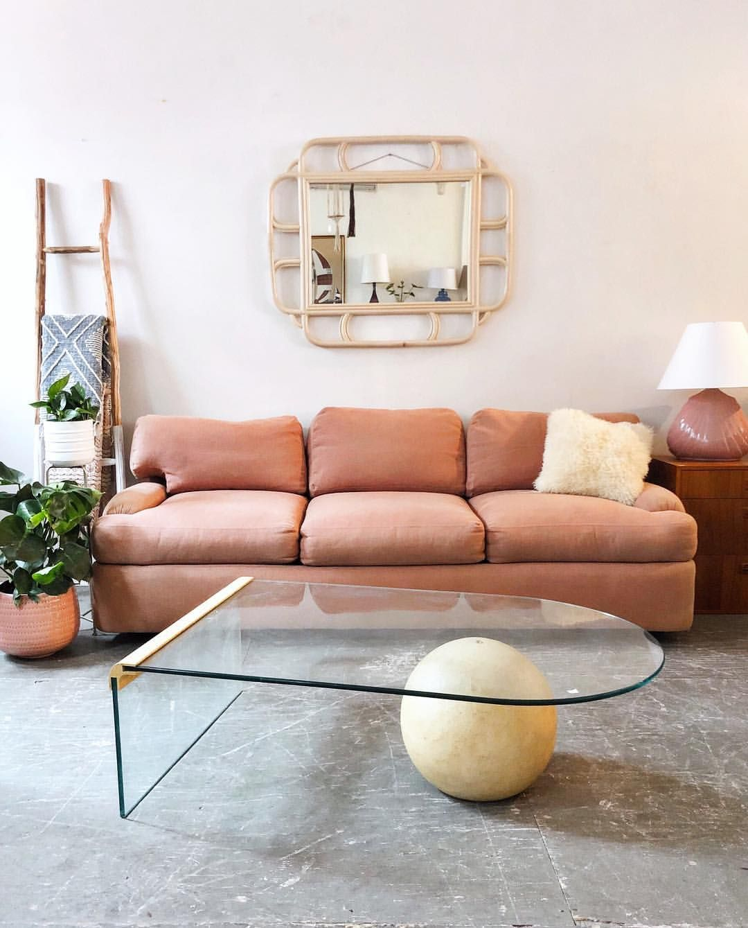 Pink Directional Sofa and Waterfall